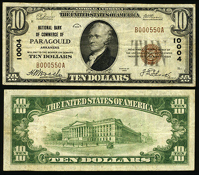 Paragould AR $10 1929 T-1 National Bank Note Ch #10004 NB of Commerce Very Fine