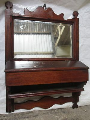 Victorian Mahogany bevel edge hall mirror with key box (ref 201)