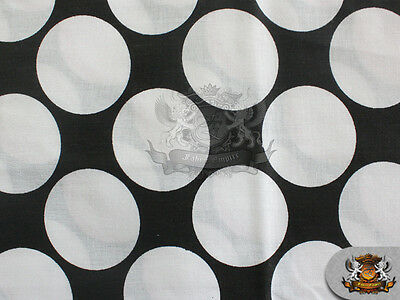 """Polycotton Printed Fabric LARGE POLKA DOTS WHITE BLACK / 60"""" Wide / Sold BTY"""