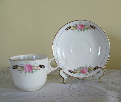 BEAUTIFUL VINTAGE  CUP & SAUCER  W.S.GEORGE WHITE GRANITE  0138 MADE IN USA