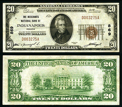 Indianapolis IN $20 1929 T-1 National Bank Note Ch #869 Merchants NB Extra Fine