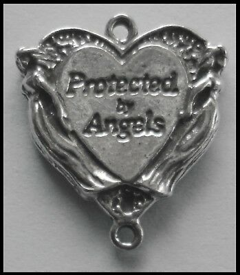 PEWTER CHARM #103 Protected by Angels Heart 22mm x 20mm joiner 2 bails dble side