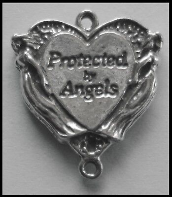 PEWTER CHARM #103 Protected by Angels Heart 25mm 2 bails dble side Ant/ Silver