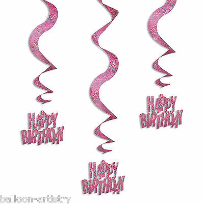 6 Pink Glitz Happy Birthday Party Hanging Holographic Swirls Decorations
