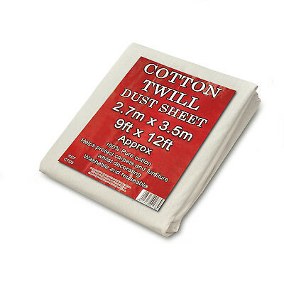 Cotton Twill Dust Sheets large Size 9' x 12'  DIY Builder Decorating Cover