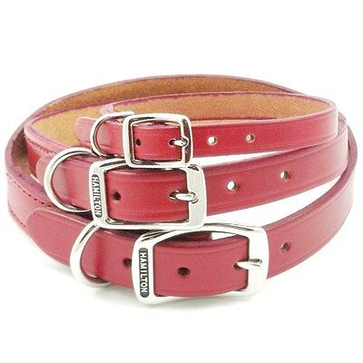 HAMILTON Creased Leather Dog Collar, Red