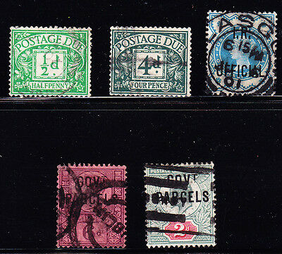 Great Britain #j18//o40 Used, 5 Different, Cv$137.50 -- Fh27