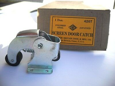 Vtg NOS Storm Screen DOOR HOLDER CATCH Latch Zinc Plated Spring Loaded Roller