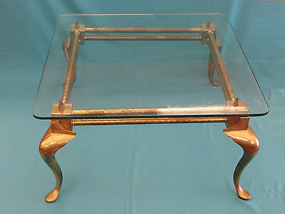 VINTAGE 50s ENGLISH BRASS COCKTAIL COFFEE TABLE W/ GLASS TOP