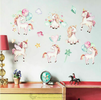 Unicorn Kids Wall Stickers Nursery Decal Art Mural Decor Balloon Star Rainbow