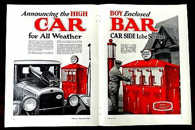 HIGH BOY CAR BAR LUBE SERVICE Muskegon MI Gas Station SKELLY GAS 2 Page Ad 1928
