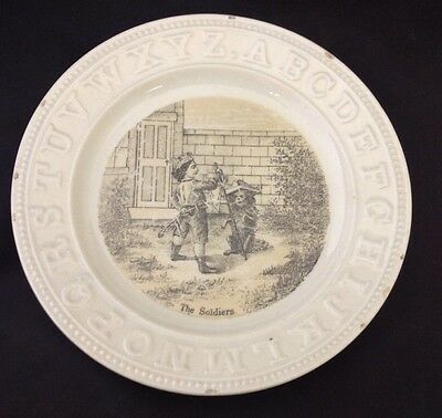 Nice English Transfer ABC Childs Plate - Boy playing Soldier w/dog c.1860