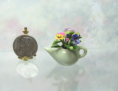 Dollhouse Miniature or Fairy Garden Handcraft Pansy in Pale Green Ceramic Teapot