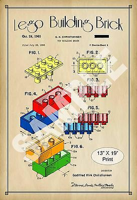 1961 Colorized Patent Print Lego Building Brick Block Childs Play Room Poster