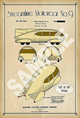 1934 Colorized Patent Art Print Streamline Automobile Childs Play Room Poster
