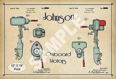 1934 Colorized Patent Art Print Johnson Outboard Boat Motor Sports Room Poster