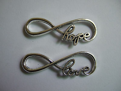 25 Antiqued Silver Infinity HOPE/LOVE Charm Connector  Bracelet Jewelry Making