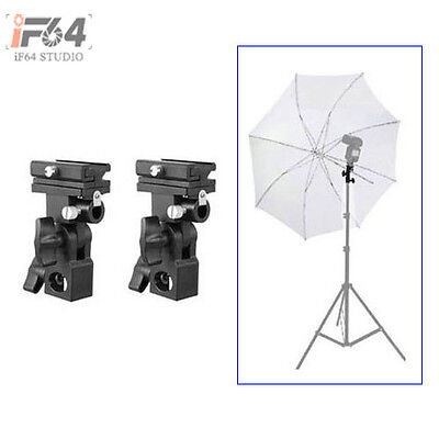2pcs Flash Hot Shoe Adapter Umbrella Swivel Holder Light Stand Bracket B Mount