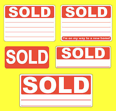Red SOLD Stickers / Swing Tag Labels / Sticky Labels - Removable Adhesive