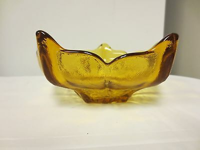Older Viking Glass Lotus Flower Style Footed Textured Amber Candy, Sweets Bowl