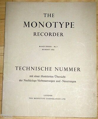 Monotype Corporation London The Recorder XXXIX 3 1952 Setzmaschinen Zeitschrift • EUR 55,00