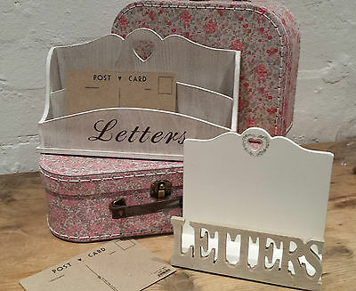 Wooden Letter Rack Vintage Country Chic Desk Heart White Lime Wax Post Tray