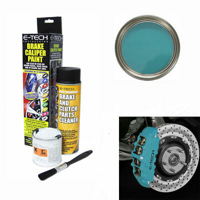 E-Tech Brake Caliper Engine Paint Kit - Paint, Cleaning Spray+Brush - Sky Blue
