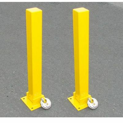 2 x Security parking posts bollards fold down padlock with bolts Maypole MP9737
