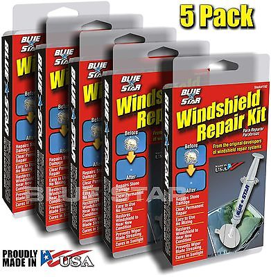 ( 5 PACK ) WINDSHIELD GLASS REPAIR KIT STONE DAMAGE CHIP DIY