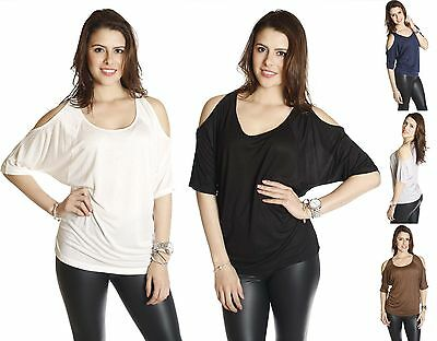 S M L Slouchy Cold Open Shoulder Sleeve Loose Fit Casual Jersey Tee Shirt Top