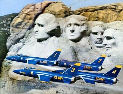 8x10 Print Navy Blue Angels F-11's Fly Near Mt. Rushmore #5502237