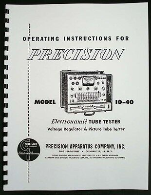 Precision Tube Tester 10-40 Manual with Tube Test Supplement Data