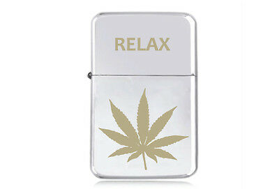★STAR★ CANNABIS GOLD  LEAF theme LIGHTER engraved silver black pink gold RELAX