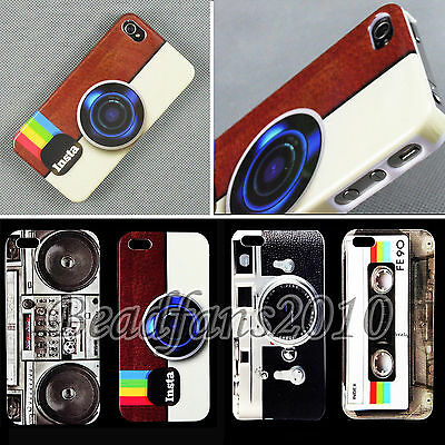 Deluxe Classic Retro Style Glossy Hard Back Skin Case Cover For Apple Iphone 4 5