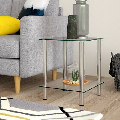Matrix 2-Tier Clear Glass Shelving Rack/Side End table-GR09C