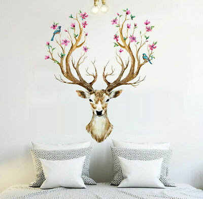 Sika Deer Flowers Birds Wall Stickers Vinyl Decal Removable Kids Decor Art Mural