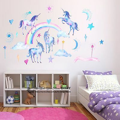 Unihorn Rainbow Cloud Star Heart Wall Decal Removable Sticker Kids Nursery Decor