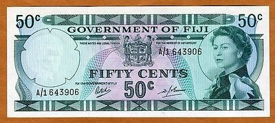 FIJI, 50 cents, ND (1969), P-58, QEII, A/1, scarce in UNC