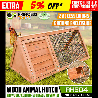 Triangle Triangular Wooden Rabbit Chicken Hen Guinea Pig Cage Hutch Pet House