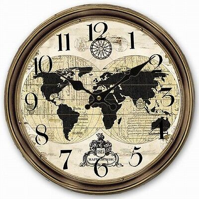 Retro Vintage Large Clock World Map Globe Home Decorative Wall Clock Wood 34CM