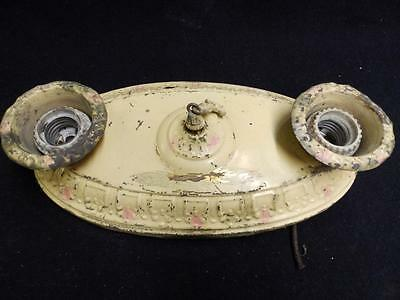 Antique Brass Shabby Ceiling Light Fixture Chic Floral Vtg Yellow Pink 3105-14
