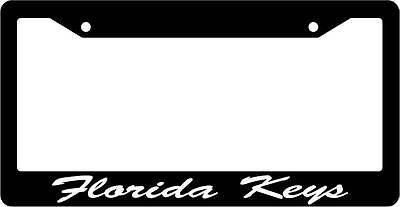 Black License Plate Frame CURSIVE Florida keys Auto Accessory 1254