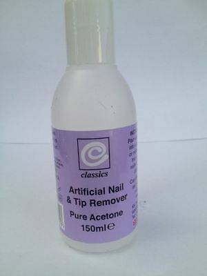** CLASSICS ARTIFICIAL NAIL & TIP REMOVER ** PURE ACETONE NEW 150 ml **