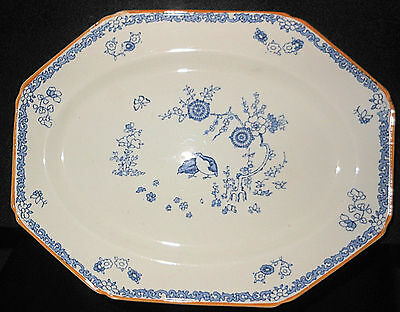 "Woods Ware  ""Old Bow"" 10"" Serving Platter, English Blue & White"
