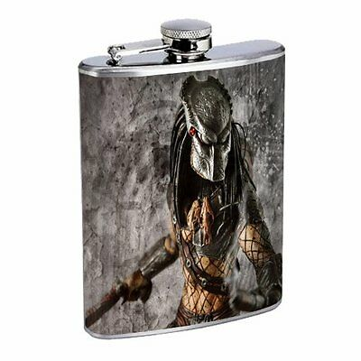 Flask 8oz Stainless Steel Alien Design 05 Paranormal Martian