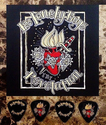 LOS LONLEY BOYS Revelation 2014 Ltd Ed RARE Guitar Picks & Display Postcard Sign