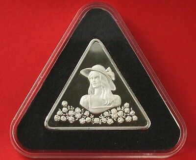 Girl with Roses Silver Tringot Rare Triangle 1 Ounce .999 Fine Silver Proof
