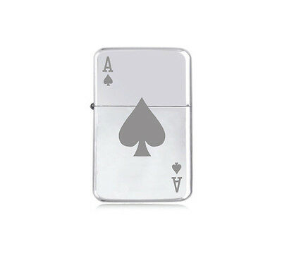 ★STAR★ POKER LIGHTER GAMER engraved silver black pink gold ACE OF SPADES tarot