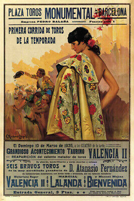 BULLFIGHT vintage ad poster BARCELONA SPAIN 1935 CORRIDA 24X36 VERY RARE - VW0