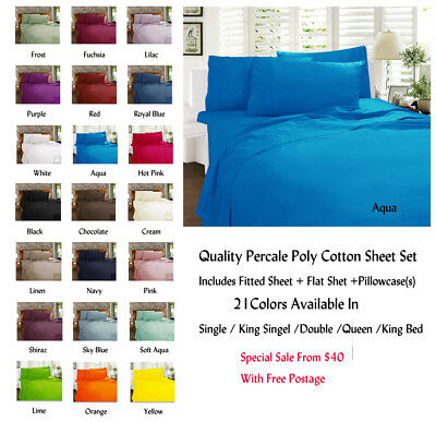New Percale Fitted Sheet Set Fitted With 38cm Wall 21 Colors For All Bed Sizes